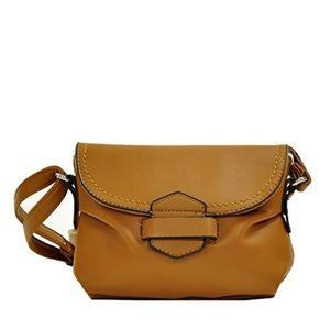 Handbags - Soft Cognac Brown Tuck & Loop Crossbody Purse Bag